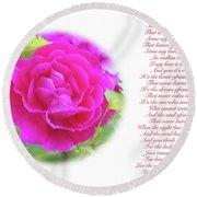 Pink Rose And Song Lyrics Round Beach Towel