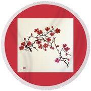 Plum Blossoms Round Beach Towel