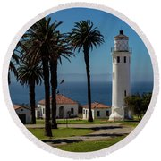 Round Beach Towel featuring the photograph Point Vicente Lighthouse by Ed Clark