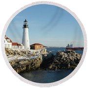 Portland Head Light - Cape Elizabeth, Maine Round Beach Towel