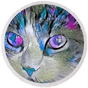 Purple Stained Glass Kitty Round Beach Towel