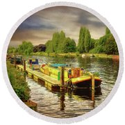River Work Round Beach Towel