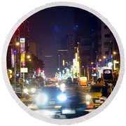 Rush Hour Traffic In Downtown Round Beach Towel