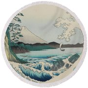 Seascape In Suruga, 19th Century Round Beach Towel