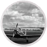 Round Beach Towel featuring the photograph Silver Airplane Duxford England by Rick Veldman