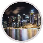 Singapore By Night Round Beach Towel