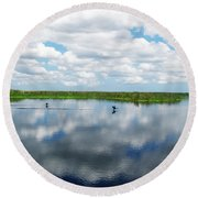 Skyscape Reflections Blue Cypress Marsh Near Vero Beach Florida C6 Round Beach Towel