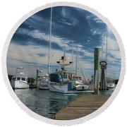 Round Beach Towel featuring the photograph South Freeport Pier  by Guy Whiteley