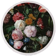 Still Life With Flowers In A Glass Vase, 1683 Round Beach Towel