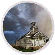 Stormy Sk Church Round Beach Towel