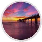 Stunning Sunset At Manhattan Beach Pier Round Beach Towel