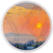Sunrise Over Dilesi Athens  Round Beach Towel