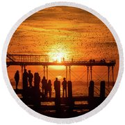 Sunset And Starlings In Aberystwyth Round Beach Towel