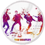 The Beatles Watercolor 01 Round Beach Towel