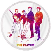 The Beatles Watercolor 02 Round Beach Towel