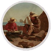 The Boat Builders, 1873 Round Beach Towel
