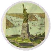 The Great Bartholdi Statue, Liberty Enlightening The World, 1885 Round Beach Towel