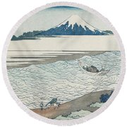 The Jewel River In Musashi Province Round Beach Towel