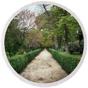 The Paths Of The Retiro Park Round Beach Towel