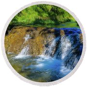 The Springs In It's Summer Green, Big Hill Springs Provincial Re Round Beach Towel