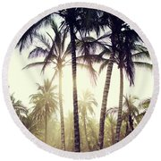 Round Beach Towel featuring the photograph Ticla Palms by Nik West