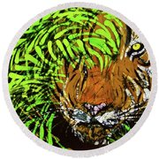 Tiger In Bamboo Round Beach Towel