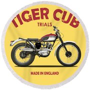 Triumph Tiger Cub Round Beach Towel
