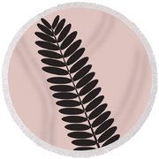 Tropical Blush Pink Leaf  Round Beach Towel