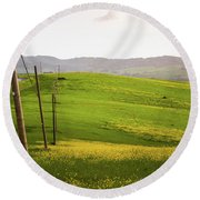 Tuscan Landscapes. Hills In The Spring Round Beach Towel