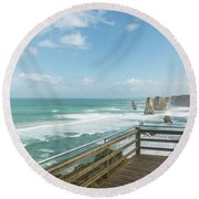 Twelve Apostles Sea Rocks Round Beach Towel