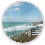 Twelve Apostles Sea Rocks Round Beach Towel