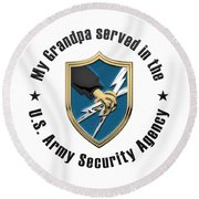U. S.  Army Security Agency -  A S A  Patch Over White Leather Round Beach Towel