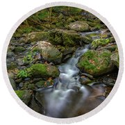 Round Beach Towel featuring the photograph Vaughan Brook by Rick Berk