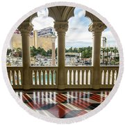 Round Beach Towel featuring the photograph Views Of Las Vegas Nevada Strip In November by Alex Grichenko