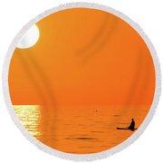 Watching The Sunset Round Beach Towel