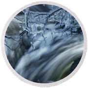 Water And Ice Round Beach Towel