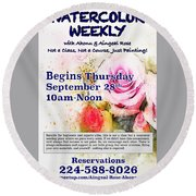 Watercolor Weekly Round Beach Towel