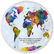 Watercolor World Map Custom Text Added Round Beach Towel