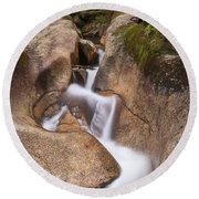 Round Beach Towel featuring the photograph Waterfall At The Basin by Sharon Seaward