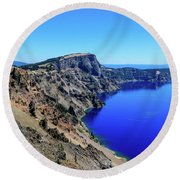 Round Beach Towel featuring the photograph West Rim Of Crater Lake by Dawn Richards