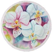 White Orchids Round Beach Towel