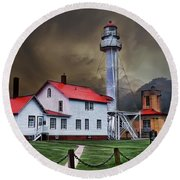 Whitefish Point Lighthouse Round Beach Towel