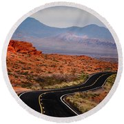 Winding Road In Valley Of Fire Round Beach Towel