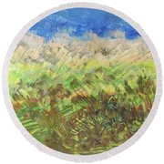 Windy Fields Round Beach Towel