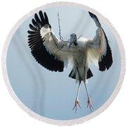Woodstork Nesting Round Beach Towel