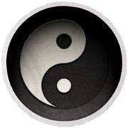 Yin Yang Symbol Leather Texture Round Beach Towel