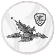 Round Beach Towel featuring the drawing 10th Marines 777 by Betsy Hackett
