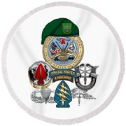 10th Special Forces Group - Green Berets Special Edition Round Beach Towel