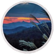 Round Beach Towel featuring the photograph Sunset Over Peaks On Blue Ridge Mountains Layers Range by Alex Grichenko