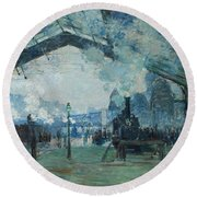 Round Beach Towel featuring the digital art Arrival Of The Normandy Train, Gare Saint-lazare by Claude Monet